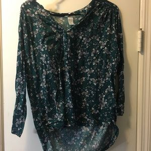 H&M 3/4 Sleeve Green Floral Top